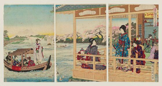 渡辺延一: Beauties Enjoying Cherry Blossoms on the Banks of the Sumida River (Bijin Sumidagawa hanami no zu) - ボストン美術館