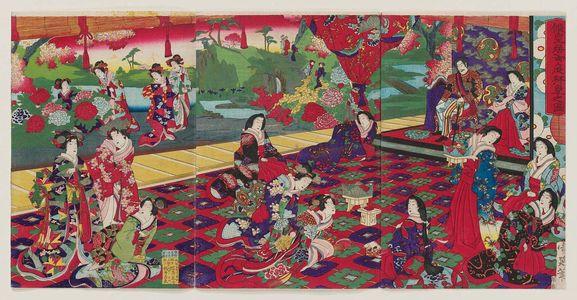 豊原周延: Imperial Viewing of the Garden of the Temporary Palace (Kari kôkyo oniwa haiken no zu) - ボストン美術館