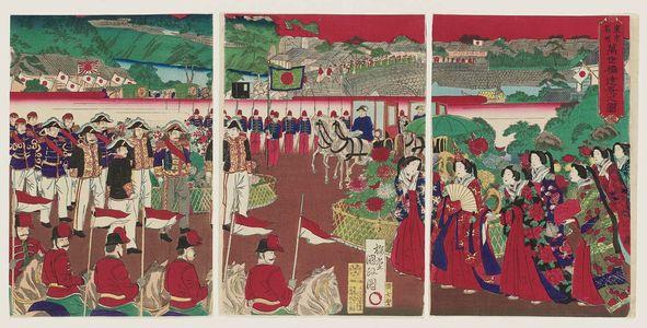 歌川国貞三代: Distant View of Mansei Bridge (Mansei-bashi tôkei no zu), from the series Famous Places of Tokyo (Tôkyô meisho) - ボストン美術館