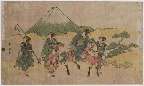 勝川春好: Parody of Narihira's Journey to the East: Passing Mount Fuji - ボストン美術館