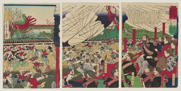 Kobayashi Toshimitsu: Illustration of Former President of the United States, Mr. Grant, Watching a Lance Training Exhibition at Ueno Park - Museum of Fine Arts