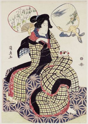 Utagawa Kuninao: from an untitled series of beauties and fans - ボストン美術館