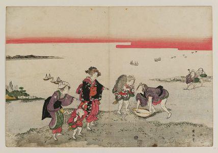 菊川英山: Gathering Shellfish at Low Tide - ボストン美術館