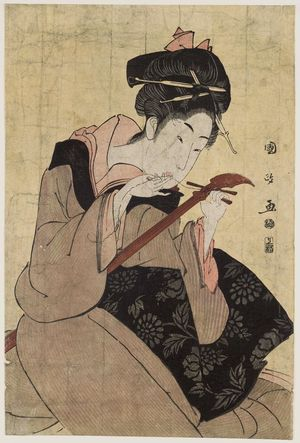 歌川国政: Woman Changing String of a Samisen - ボストン美術館