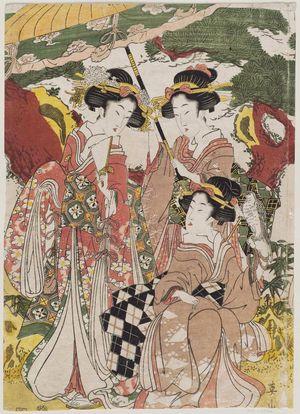菊川英山: Women on a Falconry Excursion - ボストン美術館