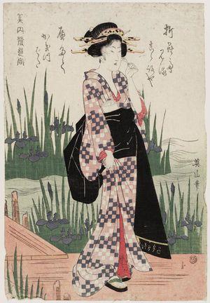 Kikugawa Eizan: Woman Viewing Iris at Yatsuhashi, from the series Beauties Matched with Hokku Poems (Bijin hokku awase) - Museum of Fine Arts