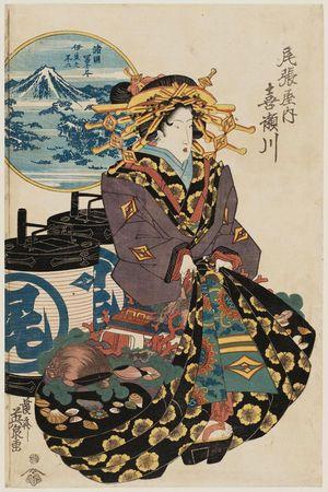 Keisai Eisen: Fuji from Izu (Izu no Fuji): Kisegawa of the Owariya, from the series Views of Fuji from Various Provinces (Shokoku Fuji tsukushi) - Museum of Fine Arts