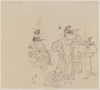 Totoya Hokkei: Woman and Child with New Year Decorations - Museum of Fine Arts