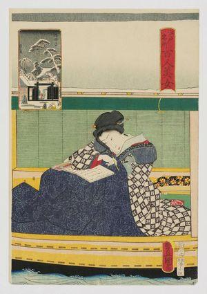 歌川国貞: Mokubô-ji, from the series One Hundred Beautiful Women at Famous Places in Edo (Edo meisho hyakunin bijo) - ボストン美術館