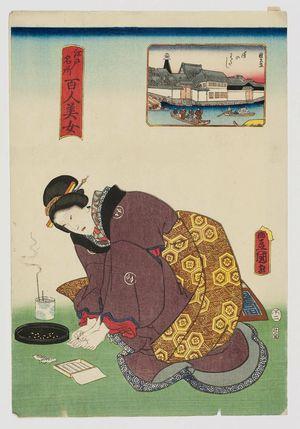 歌川国貞: Yoroi Ferry (Yoroi no watashi), from the series One Hundred Beautiful Women at Famous Places in Edo (Edo meisho hyakunin bijo) - ボストン美術館