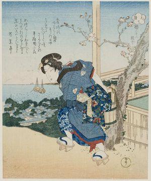柳川重信: Woman Carrying Water Up Hill - ボストン美術館