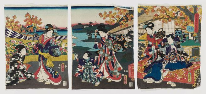 Utagawa Kunisada: The Ninth Month (Kikuzuki), from the series Annual Events for Young Murasaki (Wakamurasaki nenjû gyôji no uchi) - Museum of Fine Arts