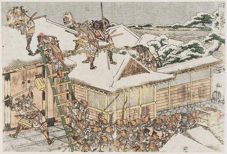 葛飾北斎: Act XI (Jûichidanme), from the series The Storehouse of Loyal Retainers, a Primer (Kanadehon Chûshingura) - ボストン美術館