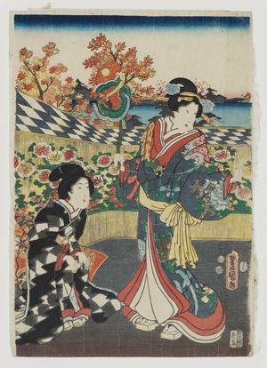 歌川国貞: The Ninth Month (Kikuzuki), from the series Annual Events for Young Murasaki (Wakamurasaki nenjû gyôji no uchi) - ボストン美術館