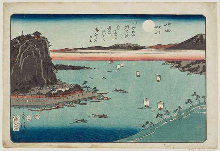 Utagawa Fusatane: Autumn Moon at Ishiyama (Ishiyama shûgetsu), from an untitled series of Eight Views of Ômi (Ômi hakkei) - Museum of Fine Arts
