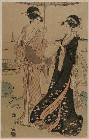 細田栄之: Women Strolling at Takanawa - ボストン美術館