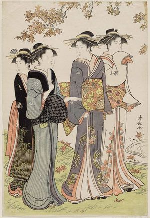 Torii Kiyonaga: Women under Maple Leaves, from the series Contest of Contemporary Beauties of the Pleasure Quarters (Tôsei yûri bijin awase) - Museum of Fine Arts