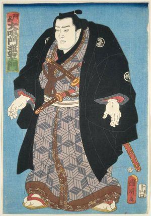 歌川国明: Sumô Wrestler Ônaruto Nadaemon of Awa Province (Ashû Ônaruto Nadaemon) - ボストン美術館