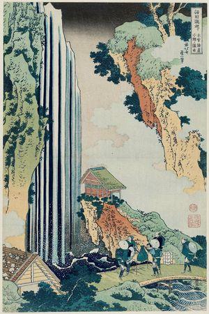 葛飾北斎: The Waterfall at Ono on the Kisokaidô Road (Kisokaidô Ono no bakufu), from the series A Tour of Waterfalls in Various Provinces (Shokoku taki meguri) - ボストン美術館