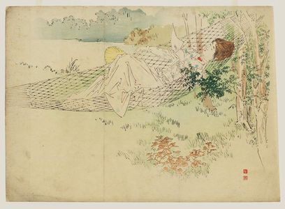 Kajita Hanko: A Woman Lying in a Hammock with Western-Style Dress and Hairdo Holding an Uchiwa and a Letter - Museum of Fine Arts