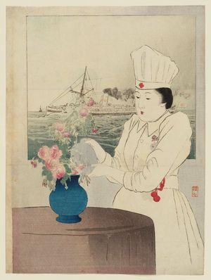 武内桂舟: Frontispiece illustration of nurse from Bungei kurabu - ボストン美術館