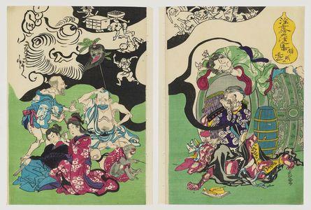 河鍋暁斎: Figures from Ôtsu-e Paintings of the Floating World in a Drunken Stupor (Ukiyo-e Ôtsu no renchû suimin no zu) - ボストン美術館