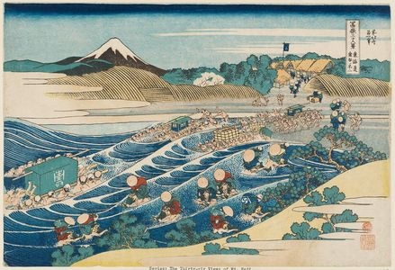 Katsushika Hokusai: Fuji from Kanaya on the Tôkaidô (Tôkaidô Kanaya no Fuji), from the series Thirty-six Views of Mount Fuji (Fugaku sanjûrokkei) - Museum of Fine Arts