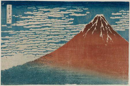 Katsushika Hokusai: Fine Wind, Clear Weather (Gaifû kaisei), also known as Red Fuji, from the series Thirty-six Views of Mount Fuji (Fugaku sanjûrokkei) - Museum of Fine Arts