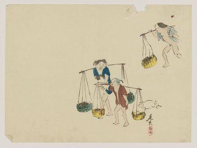 柴田是眞: Children Carrying Baskets - ボストン美術館
