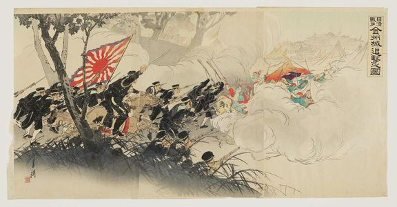 Ogata Gekko: Sino-Japanese War: Pursuing the Retreating Enemy at Jinzhoucheng (Nisshin sensô Kinshûjô tsuigeki no zu) - Museum of Fine Arts