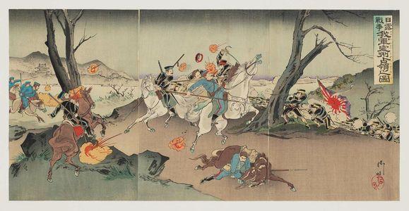 Utagawa Kokunimasa: Russo-Japanese War: Illustration of Our Army Taking Occupation of Chongju [Ch. Dingzhou] (Nichiro sensô waga gun Teishû senryô no zu) - ボストン美術館