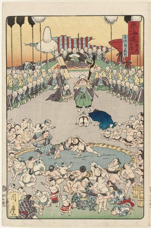 河鍋暁斎: Tenpôzan in Osaka: Viewing Children's Sumo (Naniwa Tenpôzan kodomo sumô shôran), from the series Scenes of Famous Places along the Tôkaidô Road (Tôkaidô meisho fûkei), also known as the Processional Tôkaidô (Gyôretsu Tôkaidô), here called Tôkaidô - ボストン美術館