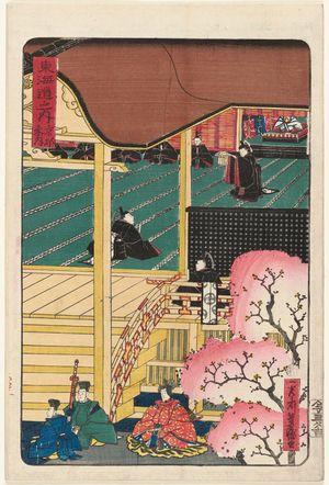 Utagawa Yoshimori: Kyoto: Attendance at Court (Kyôto, sandai), from the series Scenes of Famous Places along the Tôkaidô Road (Tôkaidô meisho fûkei), also known as the Processional Tôkaidô (Gyôretsu Tôkaidô) - Museum of Fine Arts