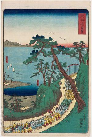Utagawa Kuniteru: Shirasuka, from the series Scenes of Famous Places along the Tôkaidô Road (Tôkaidô meisho fûkei), also known as the Processional Tôkaidô (Gyôretsu Tôkaidô), here called Tôkaidô - Museum of Fine Arts
