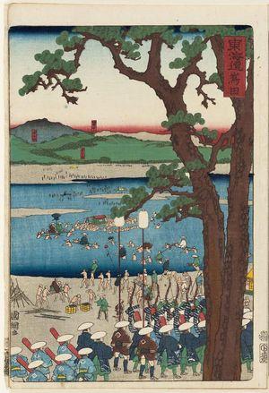 歌川国輝: Shimada, from the series Scenes of Famous Places along the Tôkaidô Road (Tôkaidô meisho fûkei), also known as the Processional Tôkaidô (Gyôretsu Tôkaidô), here called Tôkaidô - ボストン美術館