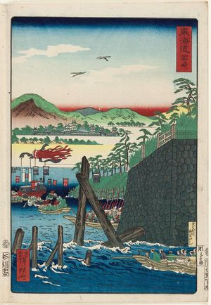 河鍋暁斎: Okazaki, from the series Scenes of Famous Places along the Tôkaidô Road (Tôkaidô meisho fûkei), also known as the Processional Tôkaidô (Gyôretsu Tôkaidô), here called Tôkaidô - ボストン美術館
