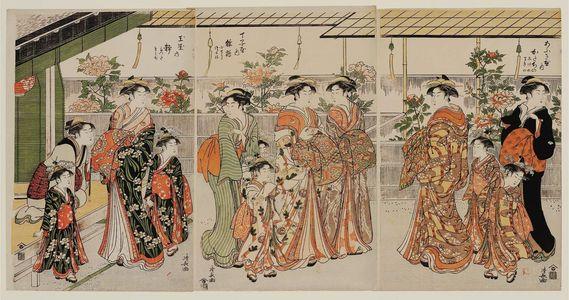 鳥居清長: Courtesans and Peonies: Katachino of the Ôgiya, kamuro Shigeno and Makino (R); Hinazuru of the Chôjiya, kamuro Kochô and Tsuruki (C); Shizuka of the Tamaya, kamuro Tatsuta and Momiji (L) - ボストン美術館