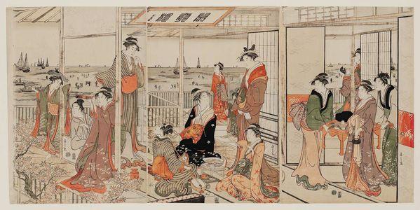 Hosoda Eishi: A Party at Shinagawa - Museum of Fine Arts