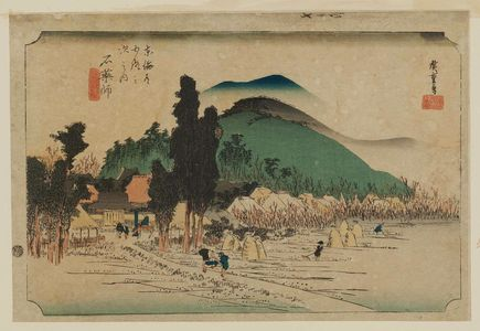 Utagawa Hiroshige: Ishiyakushi: Ishiyakushi Temple (Ishiyakushi, Ishiyakushi-ji), from the series Fifty-three Stations of the Tôkaidô (Tôkaidô gojûsan tsugi no uchi), also known as the First Tôkaidô or Great Tôkaidô - Museum of Fine Arts