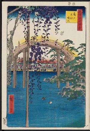 Utagawa Hiroshige: Inside Kameido Tenjin Shrine (Kameido Tenjin keidai), from the series One Hundred Famous Views of Edo (Meisho Edo hyakkei) - Museum of Fine Arts