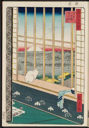 歌川広重: Asakusa Ricefields and Torinomachi Festival (Askusa tanbo Torinomachi môde), from the series One Hundred Famous Views of Edo (Meisho Edo hyakkei) - ボストン美術館