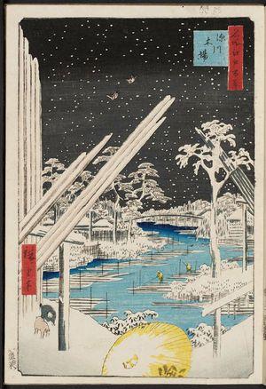 Utagawa Hiroshige: Fukagawa Lumberyards (Fukagawa Kiba), from the series One Hundred Famous Views of Edo (Meisho Edo hyakkei) - Museum of Fine Arts