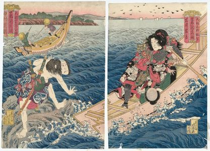 Shunbaisai Hokuei: Actors Iwai Shijaku I as Inuzaka Keno Tanetomo (R) and Nakamura Shikan II as Inuta Kobungo Yasuyori (L), from the series Eight Dog Heroes of Satomi (Satomi hakkenshi uchi ikko) - ボストン美術館