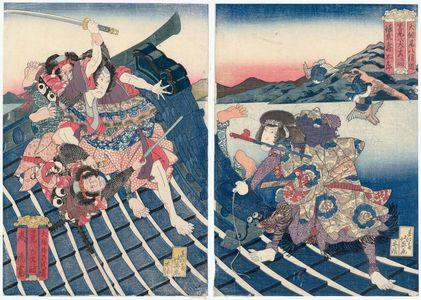 Shunbaisai Hokuei: Actors Bandô Jûtarô I as Inukai Genpachi Nobumichi (R) and Arashi Rikan as Inuzuka Shino Moritaka (L), from the series Eight Dog Heroes of Satomi (Satomi hakkenshi no uchi ikko) - Museum of Fine Arts