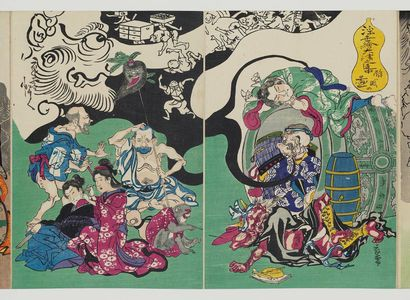 河鍋暁斎: Figures from Ôtsu-e Paintings of the Floating World in a Drunken Stupor (Ukiyo-e Ôtsu no renchû suimin no zu) - ボストン美術館