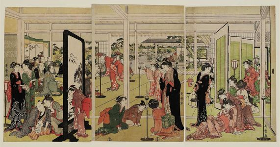 喜多川歌麿: Santô Kyôden at a Daimyô's Mansion - ボストン美術館