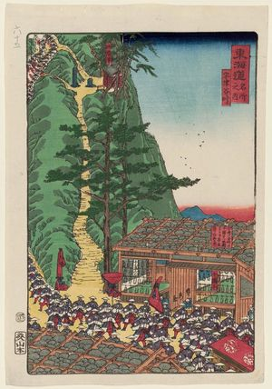 歌川貞秀: Utsunoya Pass (Utsunoya tôge), from the series Scenes of Famous Places along the Tôkaidô Road (Tôkaidô meisho fûkei), also known as the Processional Tôkaidô (Gyôretsu Tôkaidô), here called Tôkaidô meisho no uchi - ボストン美術館