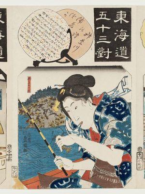 Utagawa Kunisada: Kanagawa Station: The Tomb of Urashima (Kanagawa no eki, Urashima-zuka), from the series Fifty-three Pairings for the Tôkaidô Road (Tôkaidô gojûsan tsui) - Museum of Fine Arts
