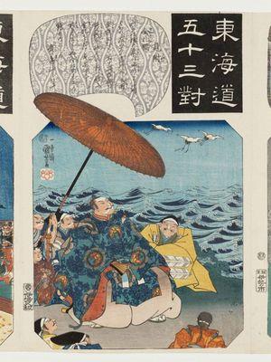 歌川国芳: Mitsuke: The Cranes with Golden Tags (Kinsatsu no tsuru), from the series Fifty-three Pairings for the Tôkaidô Road (Tôkaidô gojûsan tsui) - ボストン美術館