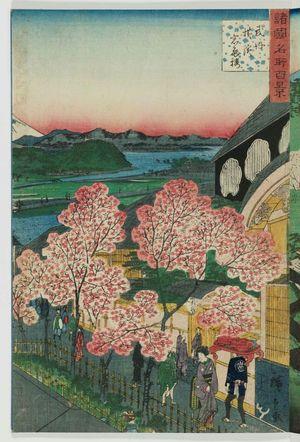 二歌川広重: The Gankirô at Yokohama in Musashi Province (Bushû Yokohama Gankirô), from the series One Hundred Famous Views in the Various Provinces (Shokoku meisho hyakkei) - ボストン美術館